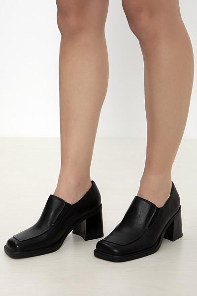 Black high heel chunky loafers