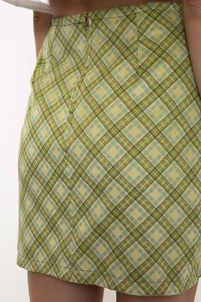Check print straight mini skirt
