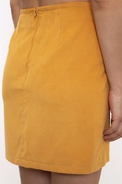 Yellow corduroy mini skirt