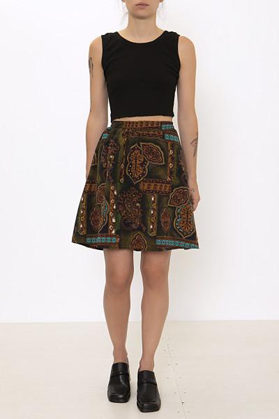 Circle brown mini skirt