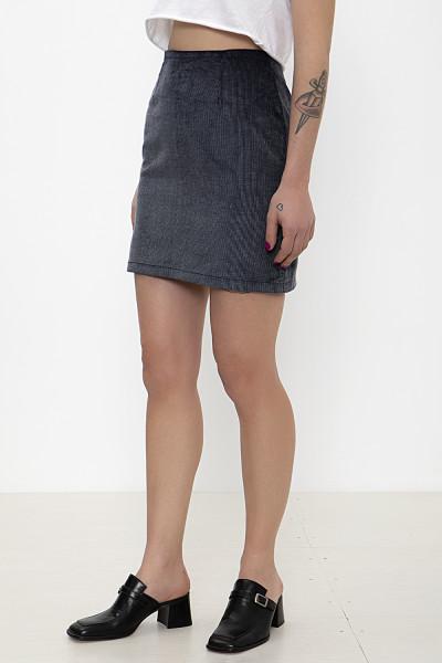 Blue-black corduroy mini skirt