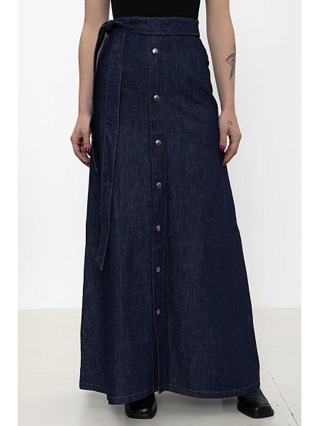 Denim button-frond maxi skirt