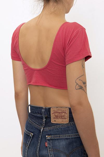 Zipper-frond pink crop top