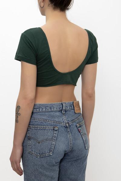 Zipper-frond green crop top