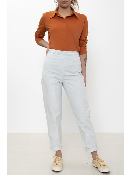White corduroy tapered pants