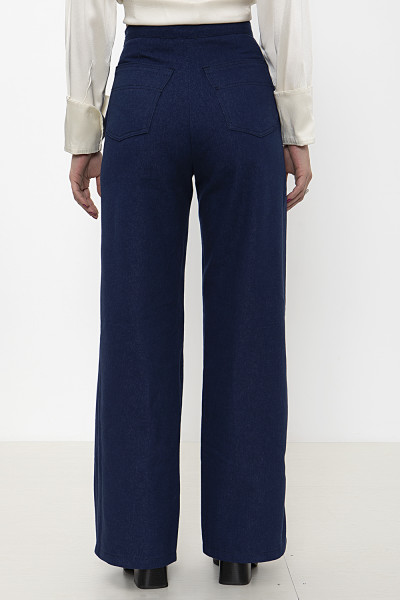 Blue wide-leg denim pants