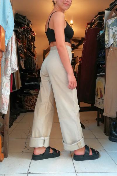 Beige corduroy wide-leg pants