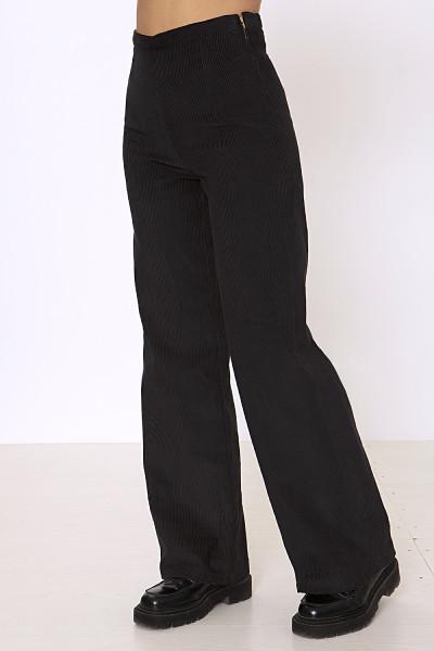 Black corduroy wide-leg pants