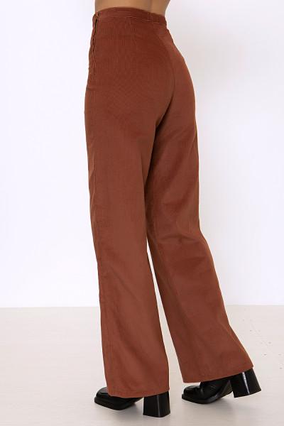 Brown corduroy wide-leg pants