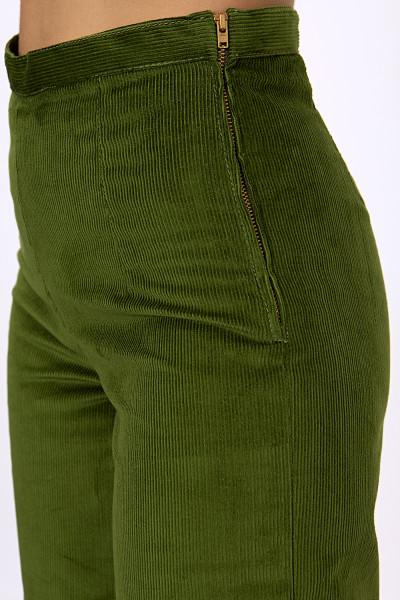 Green corduroy wide-leg pants