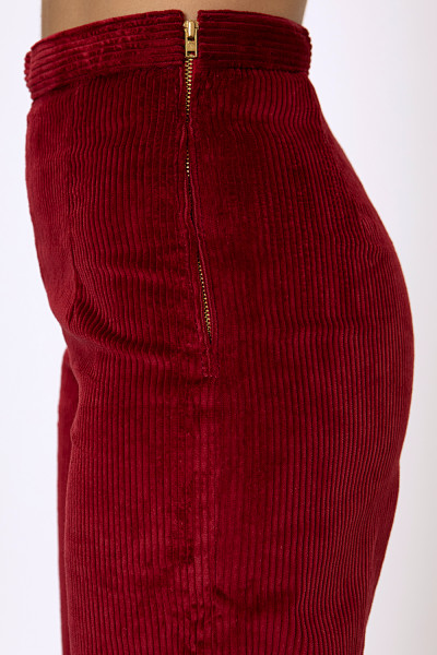 Red corduroy wide-leg pants