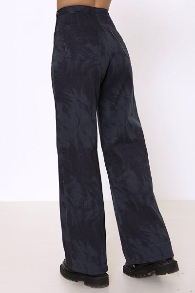 Tie dye blue wide-leg denim pants